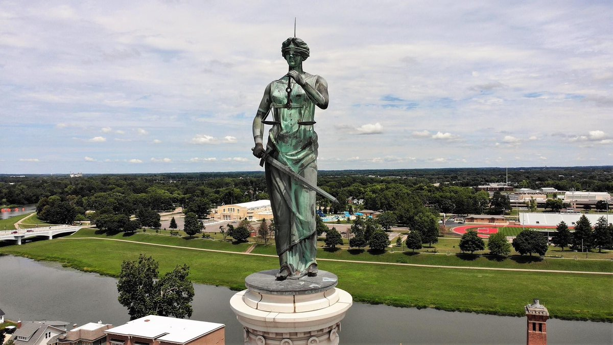 An amazing photo taken by drone from the Miami County Sheriff's Office Troy, Ohio -- not only is the county courthouse's Lady Justice pictured here, you can spot Hobart Arena, the Troy Aquatic Park, the floating tents at Treasure Island, some of our schools, and Memorial Stadium.