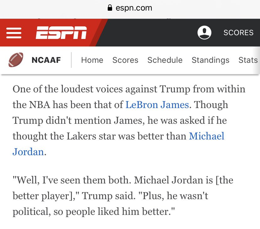 In Pres Trump's interview on @Outkick today with @ClayTravis, he nails the MJ/LeBron answer...