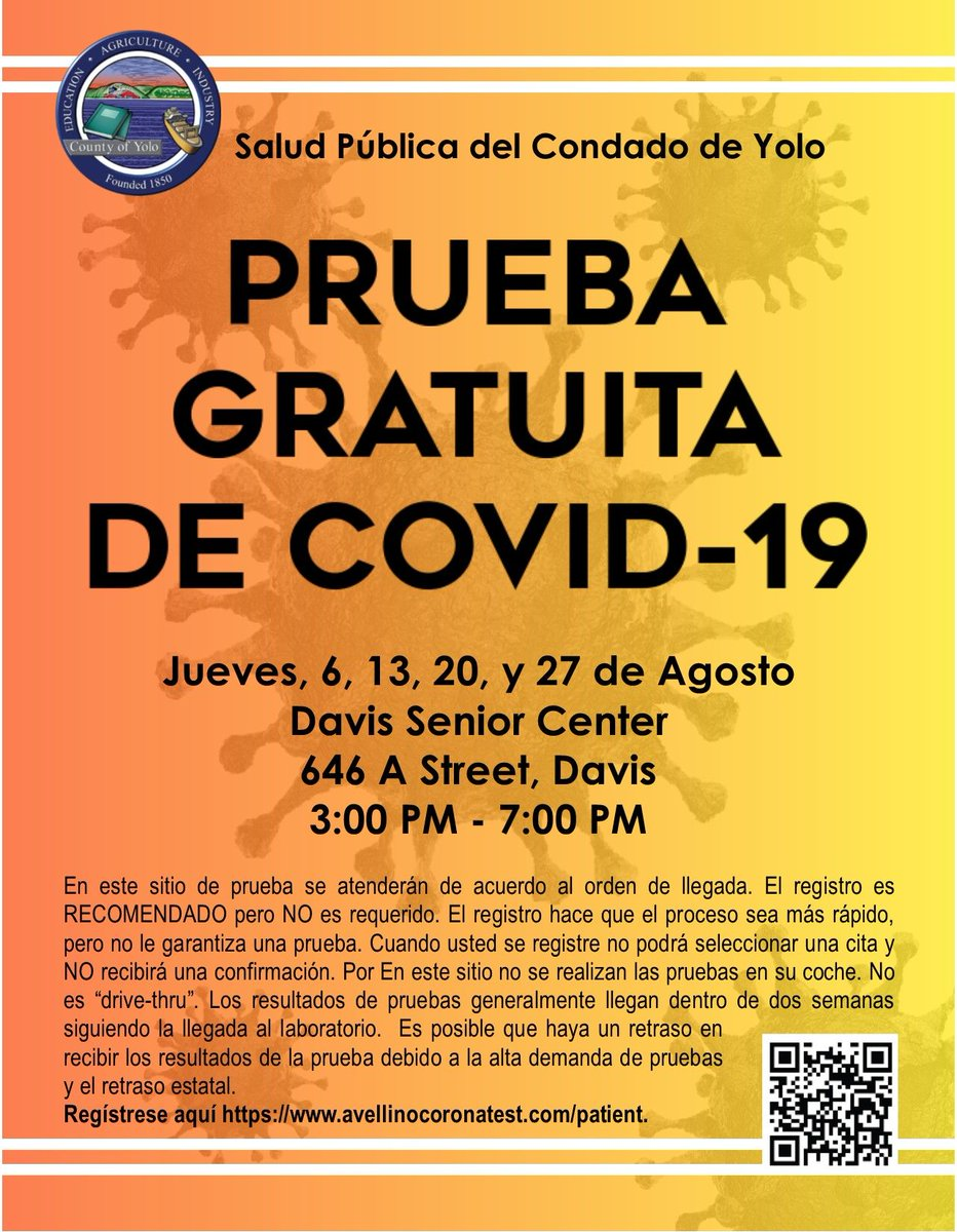 FREE COVID-19 testing at the DAVIS SENIOR CENTER Thursday 8/13 from 3-7 pm. This is for Yolo County residents only - you must show proof with your name/address. First come, first served until tests run out for the day. All ages welcome.