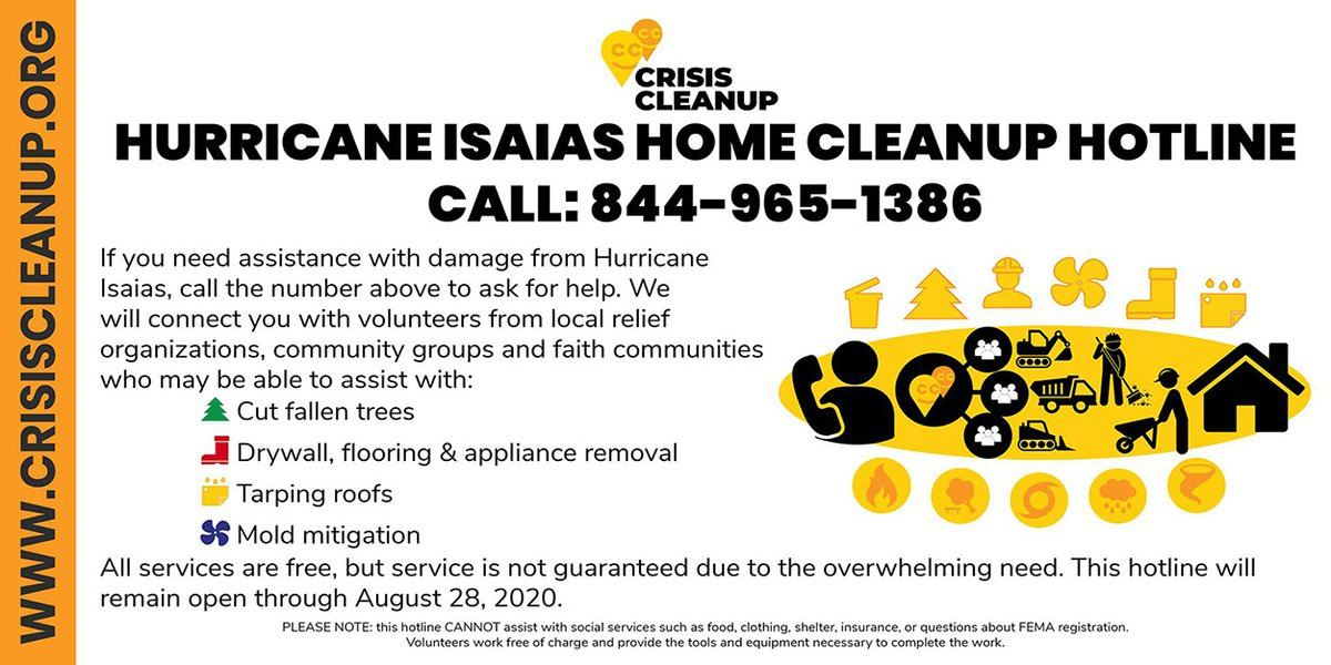 Do you or someone you know need help cleaning up after @TSIsaias? @CrisisCleanup, it is an online platform that manages work orders for nonprofits/volunteer groups that do post-storm cleanup. Services can include removal of fallen trees, drywall, etc. #MuckandGut #volunteers