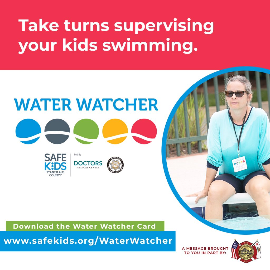 When children are 🏊🏻♂️ swimming and there are several adults present, make sure kids are actively supervised at all times by choosing a Water 👀 Watcher. Download your FREE Water Watcher Card by visiting: