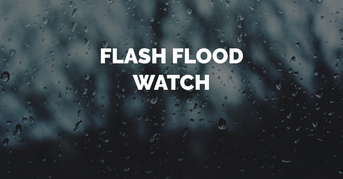 FLASH FLOOD WATCH: From Wednesday afternoon through Wednesday evening. Slow moving showers and thunderstorms will pose risk of flash flooding. Thunderstorms, 1-2 inches of rain with isolated amounts up to four inches possible.