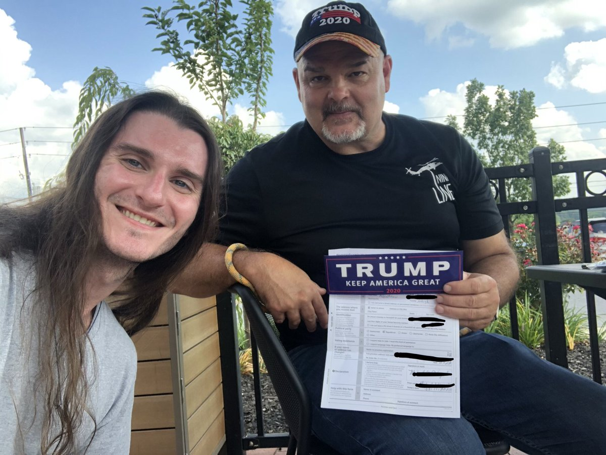 Registered a voter! I also gave him a form for his wife.   +2 votes for @realDonaldTrump in Pennsylvania   I'm not stopping for a second.