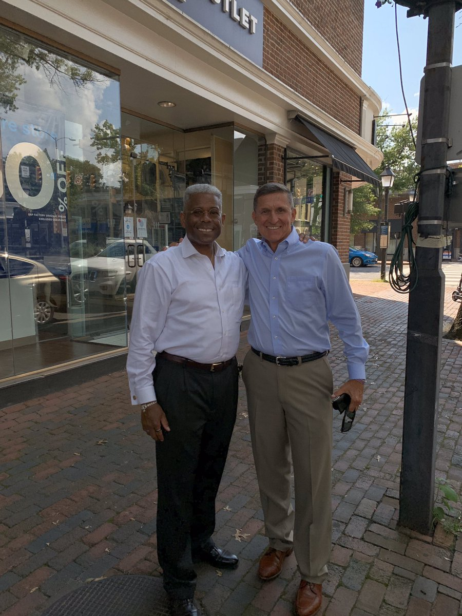 You never know who you'll run into driving through Olde Town Alexandria, VA.   What an honor to see good friend & American Patriot, Army LTG Mike Flynn. He'd just finished his appeal & was with his wife. He'll be triumphant against this perversion of justice!   Army Strong, Sir!