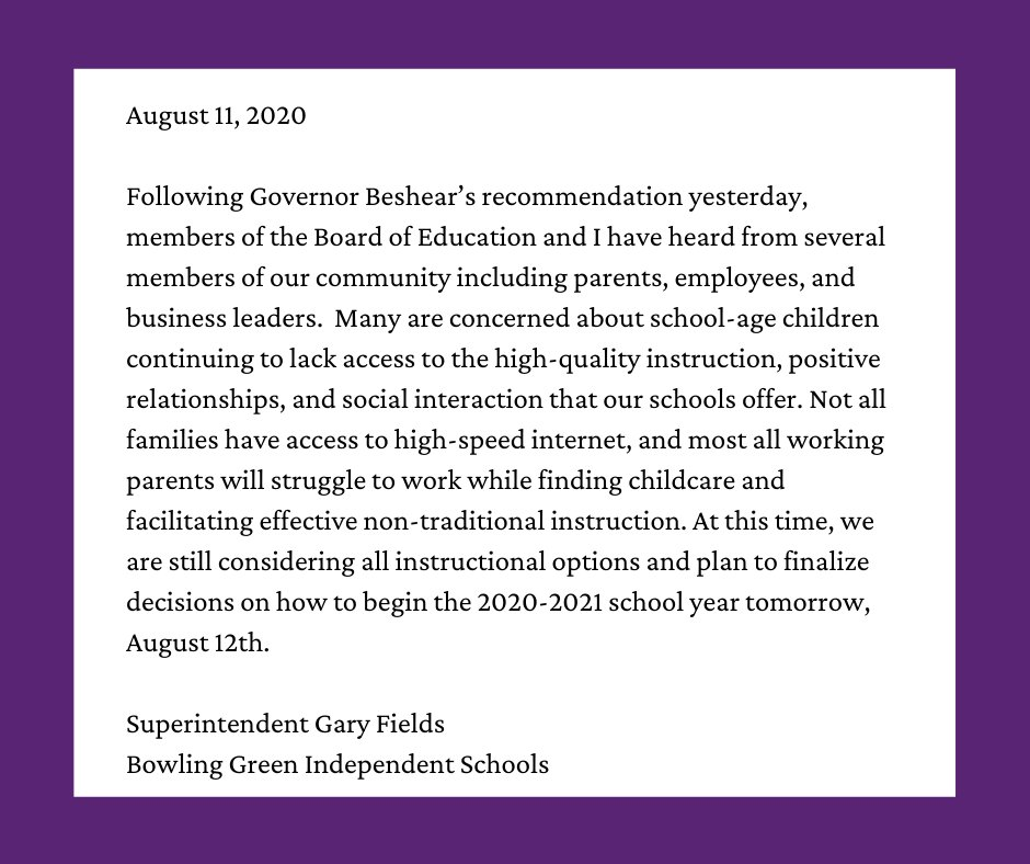 Statement from Superintendent Fields regarding Governor Beshear's August 10th recommendation to delay in-person classes: