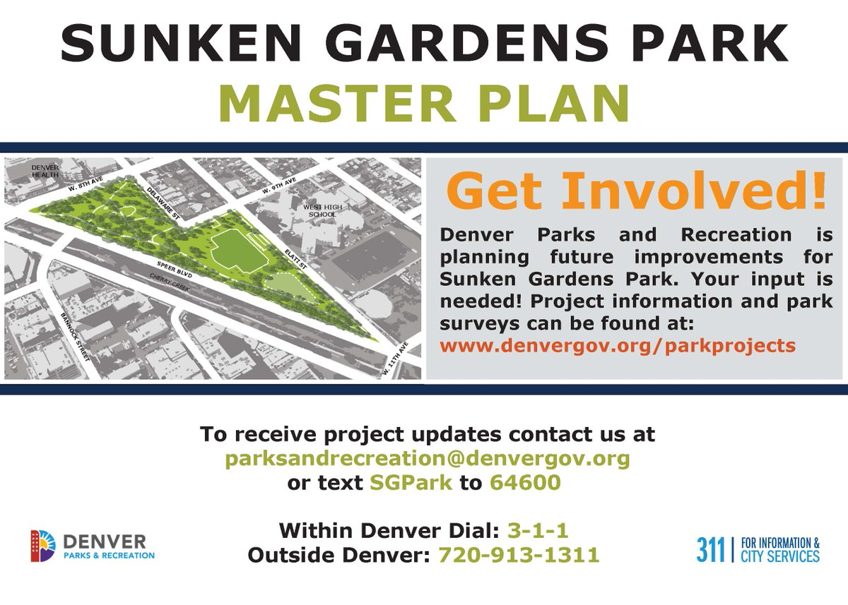 SURVEY CLOSES AUG. 14: DPR is preparing a master plan for the future of Sunken Gardens Park & we want to hear from YOU.  Please tell us how you use the park, why you care about it & what could be improved:  ······ Spanish survey: