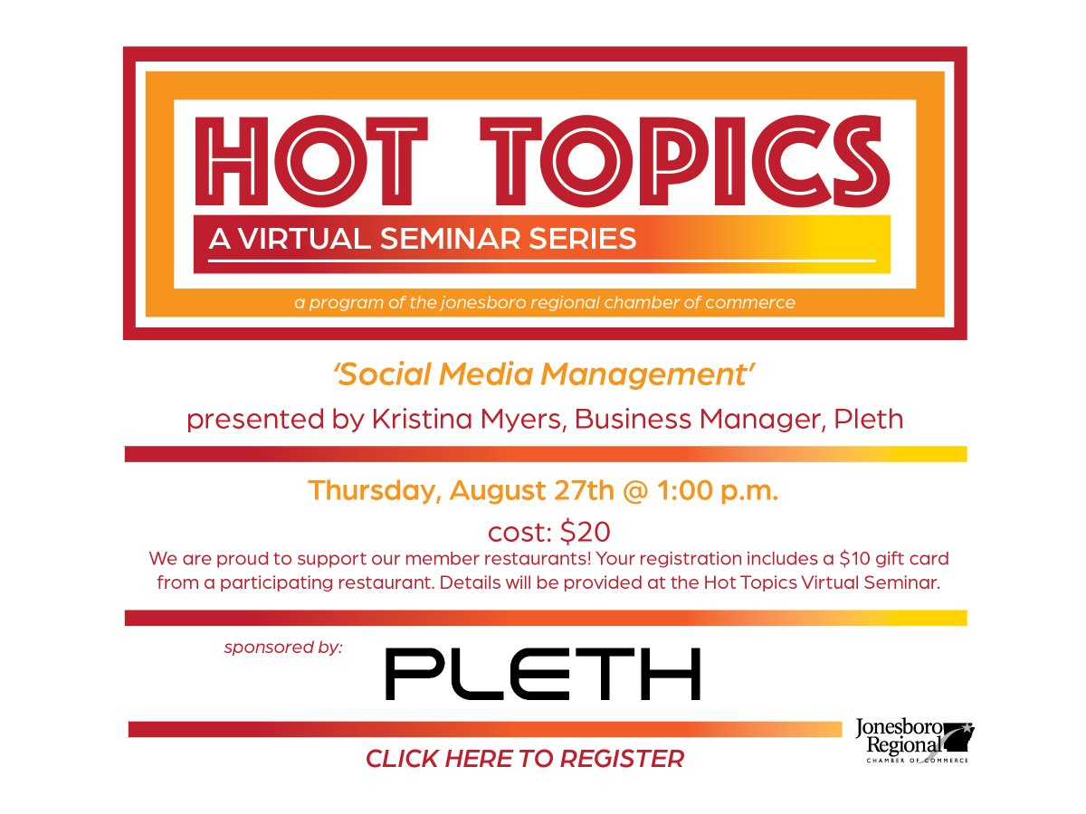 Join us for our August Hot Topics! Kristina Myers from Pleth will be talking about Social Media Management. Register at
