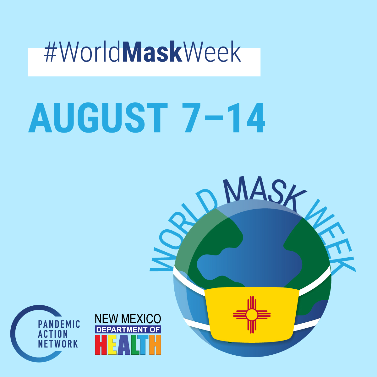 #WorldMaskWeek is a global movement to inspire more people to wear face coverings to help stop the spread of #COVID19. Take Action!