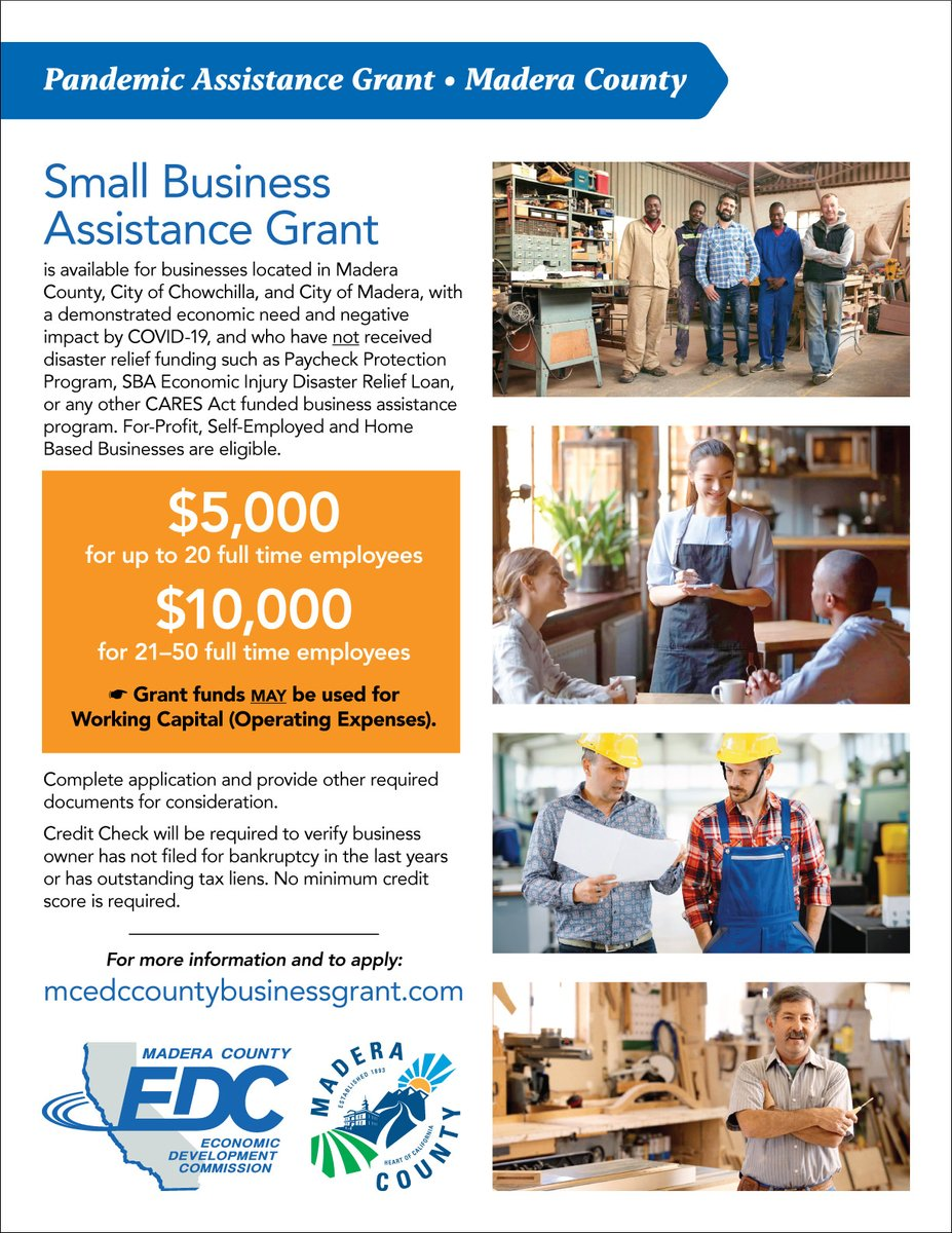 @MaderaCounty business owners including businesses in @Chowchilla_CA and @CityofMadera  have until Friday to apply for a business grant. Don't miss this opportunity. @MaderaChamber, @chow_chamber, @OakhurstChamber, @BassLakeChamber