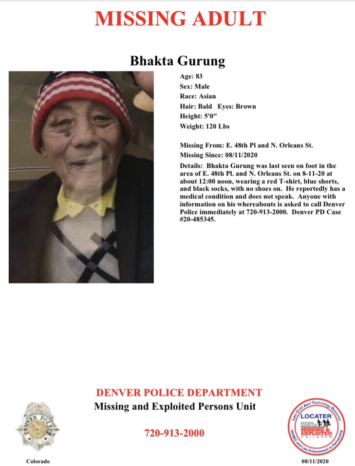 #Denver have you seen Bhakta? If so please call 720-913-2000. He was last seen on foot near the area of E. 48th Pl. and N Orleans St.