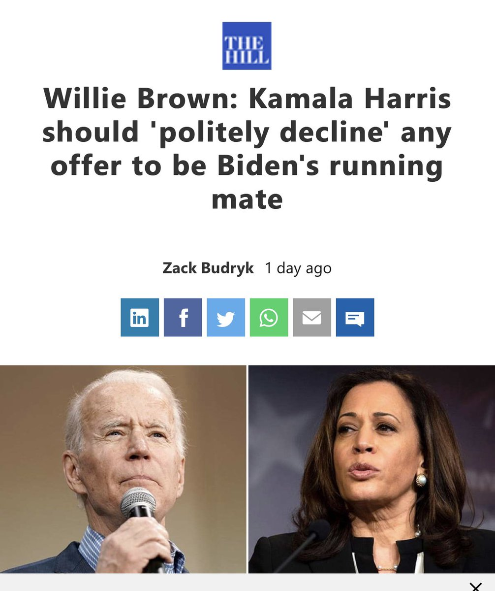 The funny thing is that even Willie Brown didn't endorse her.   She must not have been that good.   #BidenHarris2020  #BidenHarris