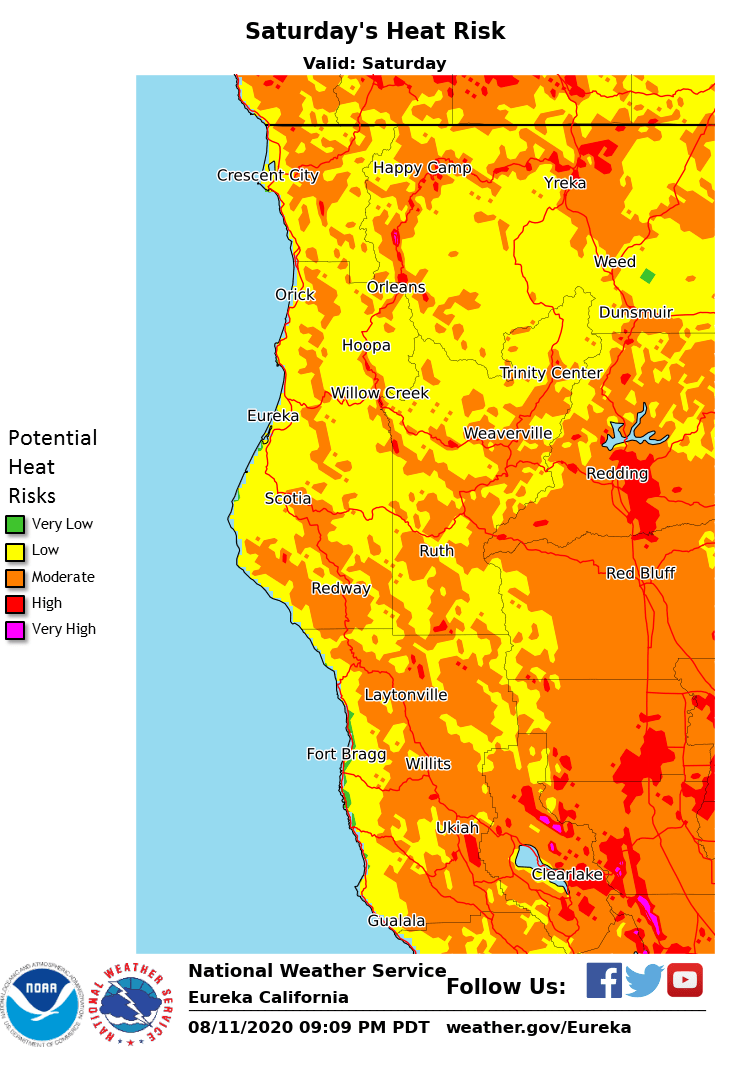 Temperatures will be on the increase the latter part of the work week and will peak on Saturday across Northwest California. Highs will top out over 100 in most interior valleys starting on Friday, with coastal areas expected to be quite warm on Friday and Saturday in addition.