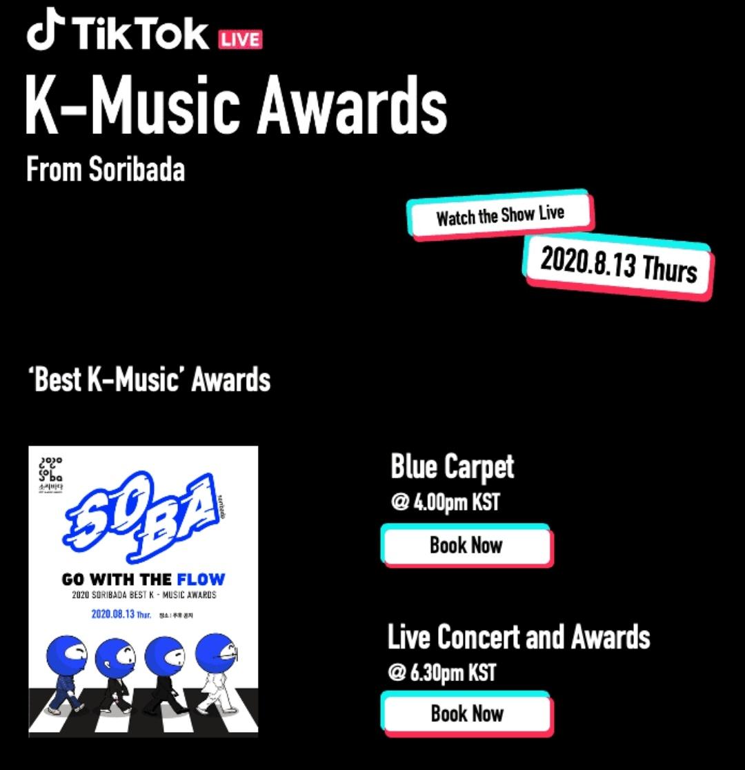 [2020 SORIBADA BEST K-MUSIC AWARD]  🗓️ Date : 13 August 2020  BLUE CARPET @ 4PM KST MAIN EVENT @ 6.30PM KST 📎  TIKTOK ( search '틱톡코리아') 🔗  @JYPETWICE #TWICE
