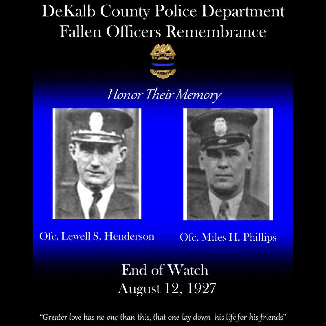Today we honor Officers Lewell S. Henderson and Miles H. Phillips who were killed in 1927 during a vehicle accident. Please visit  to view their memorial page. #WeAreDKPD #WeWillNeverForget