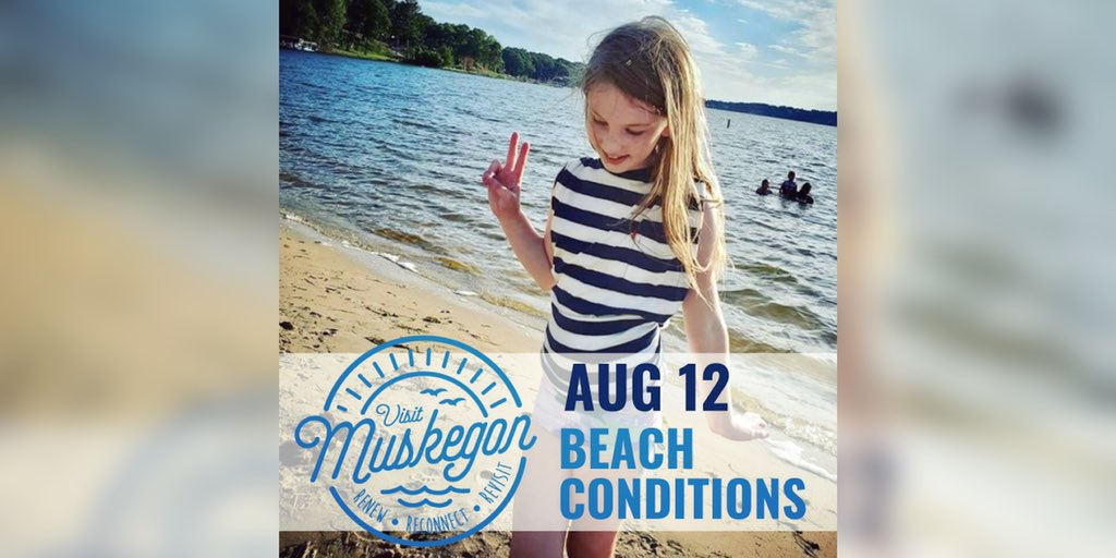 MUSKEGON BEACH REPORT ⛱ 🏄‍♀️ Swim Risk: Low  🌊 Waves: 1' or less, lasting 2 seconds 🕶 UV Index: Very High 🌡 Water Temperature: Low 70s 🌤 Weather: Sunny, around 80 🌬 Winds: S around 10 mph becoming W in the afternoon 🌅 Sunset: 8:52 PM 📸 @wilde.jessie on Instagram