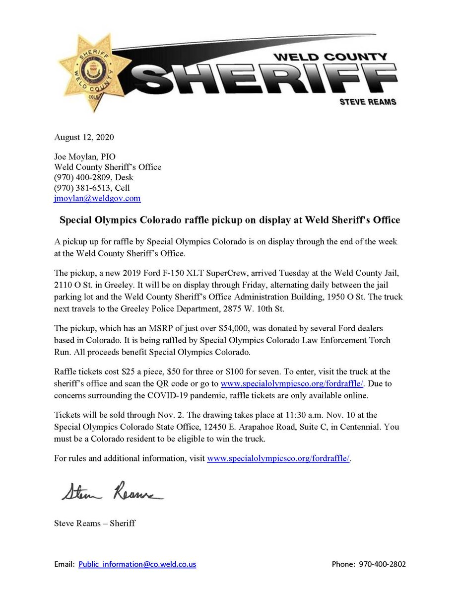A pickup that is being raffled to benefit Special Olympics Colorado is on display at the Weld County Sheriff's Office. Swing by and check it out.