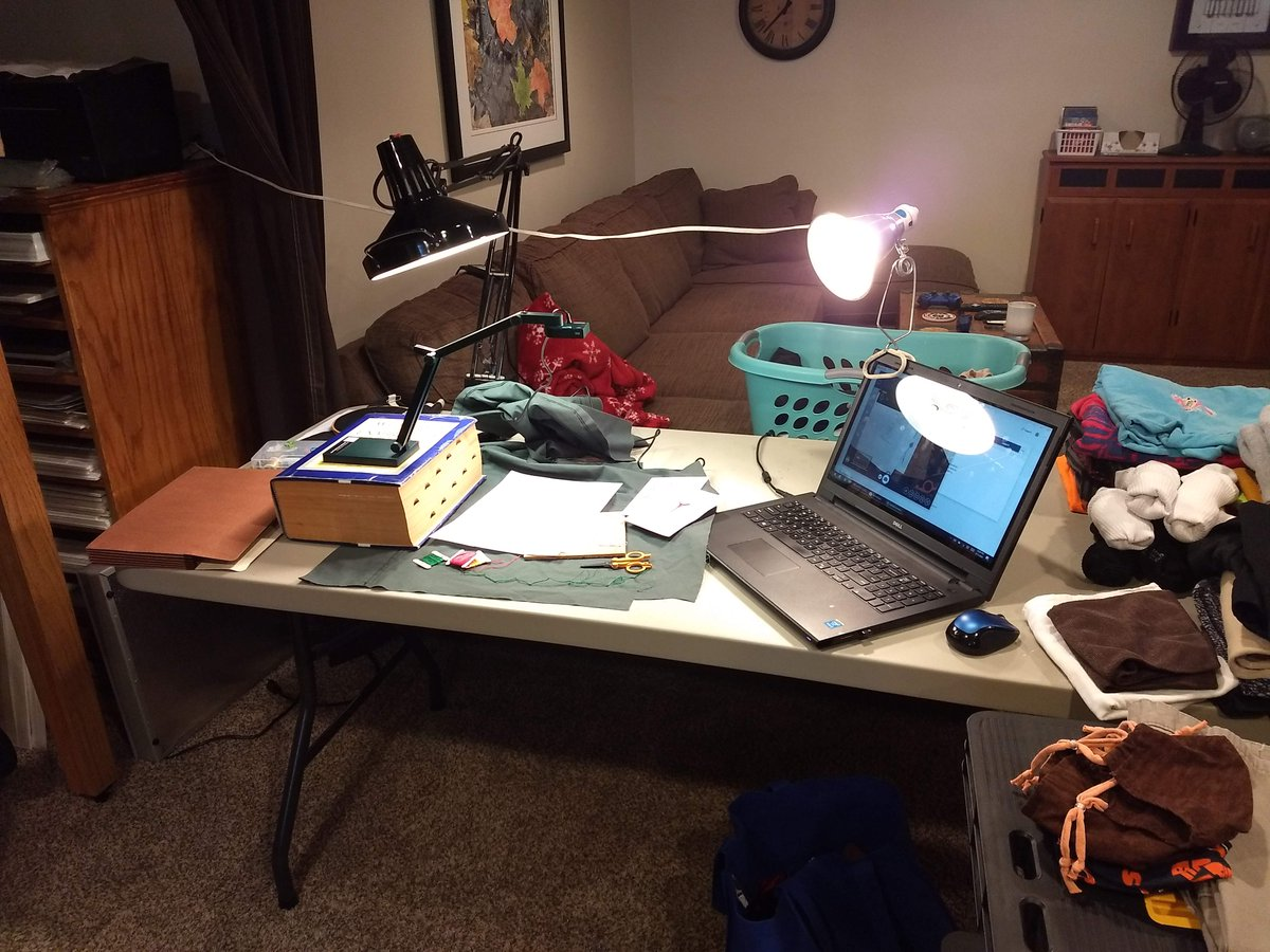 Library staff are still working for you, in spite of the 1-2 punch of coronavirus and power outages! Behind the scenes making of the Take Home Workshop video for August. Yes, that is a dictionary camera stand, and clean laundry sharing the table. It's all about work-home balance!