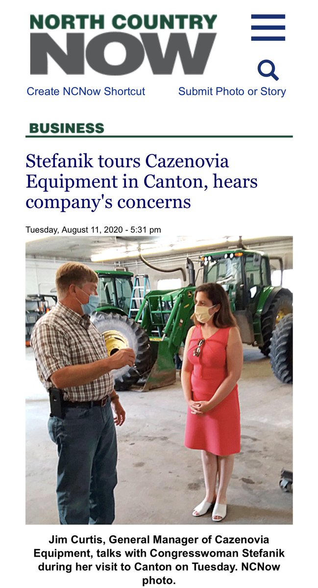 North Country farms are the backbone of our local economy. 🚜🌾🍏🍎🐮  Read about my agribusiness tour yesterday at Cazenovia Equipment in Canton.   #NY21 is grateful for our farmers! 👨‍🌾👩‍🌾