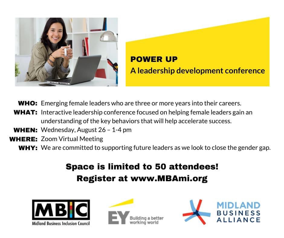 """Join us for """"POWER UP"""", an interactive leadership development conference focused on helping female leaders close the gender gap.  📆: Aug. 26, 1-4 PM  Spots are limited, so sign up now!   Register:"""