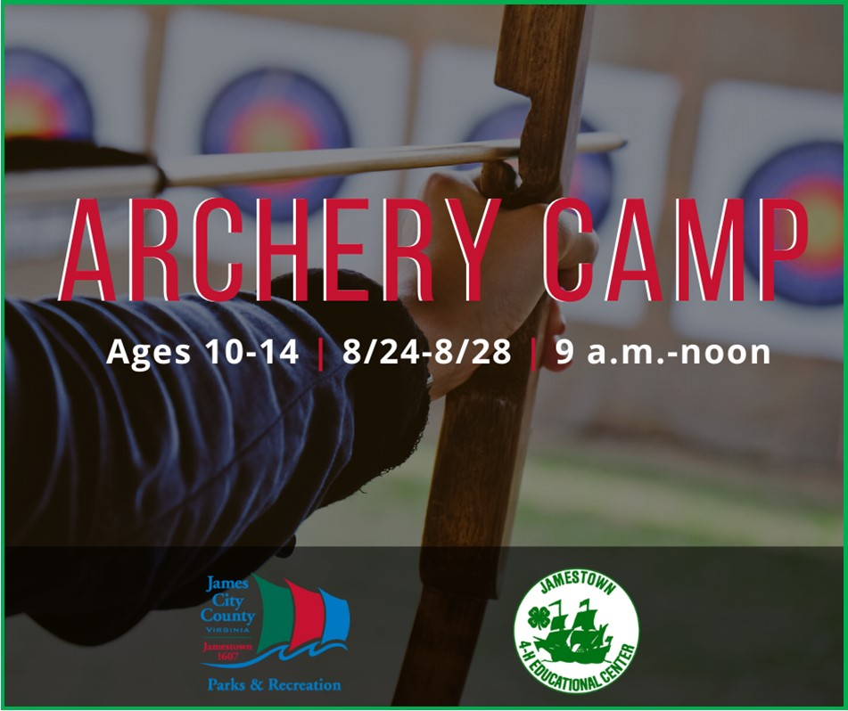 Our latest Archery Camp introduces you to the recurve bow! Participants learn proper technique, as they develop strength, balance and ease holding a bow. For ages 10-14 years. Fee: $110. Camp is Aug. 24-28, 9 a.m.-noon at the Jamestown 4-H Educational Center, 3751 4-H Club Road.