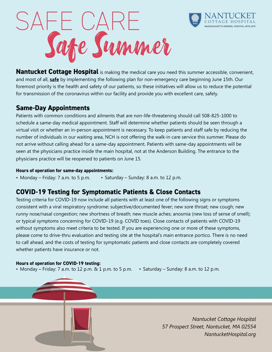 Safe Care😷 | Safe Summer 🏖️  #Nantucket, here's what you need to know:   Clinic entrance: now open✅  Same-day appointments: call 508-825-1000 📞  No walk-in care due to covid precautions 🦠🚫  Covid-19 testing at our drive-through site 🚗  Details and hours below:
