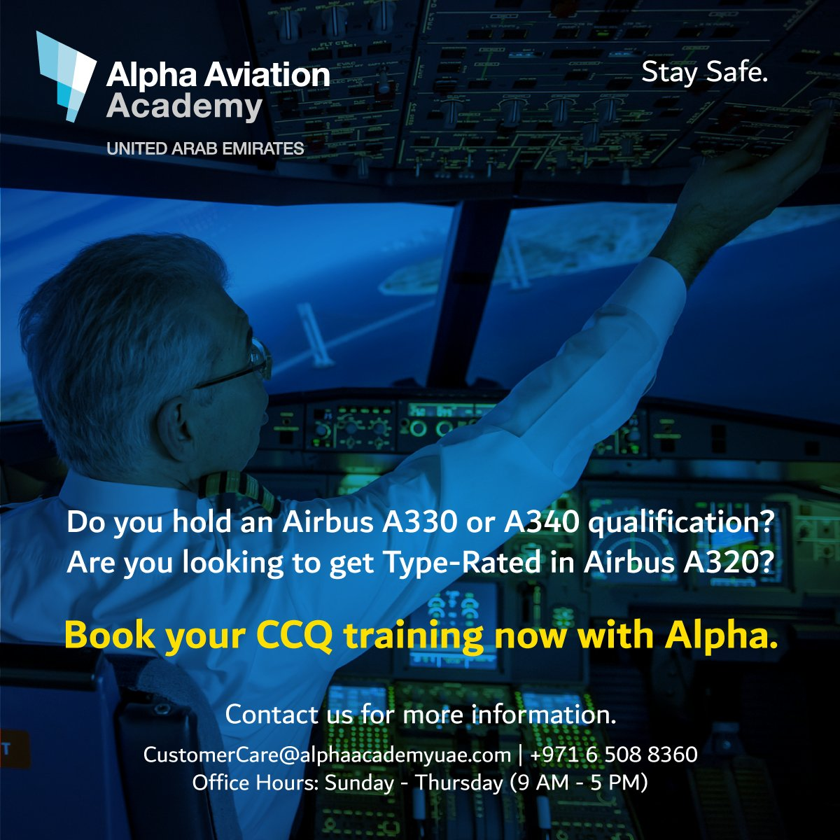 Book your CCQ training with Alpha. Contact our team for more information.  E-mail: CustomerCare@alphaacademyuae.com Tel.: +971 6 508 8360  Office Hours: Sunday - Thursday (9:00 AM - 5:00 PM) #pilotlicense #revalidation #renewal #pilotproficiency #pilotcurrency #aviation