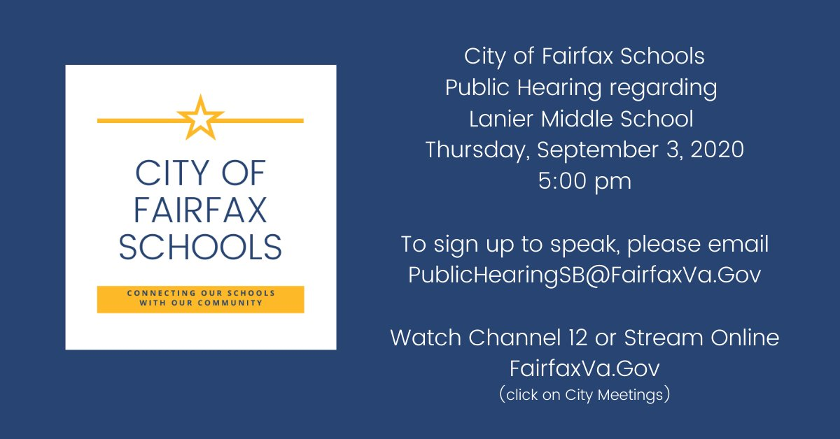 The City of Fairfax School Board will hold a virtual public hearing on Thursday, September 3 at 5:00. To sign up to speak, please email PublicHearingSB@FairfaxVa.gov.