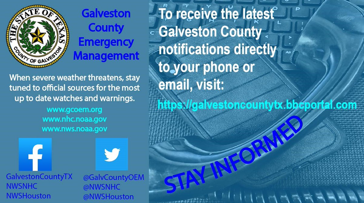 Prepare now for emergencies and disasters.  Get the latest updated information sent directly to you by phone, text or email by signing up at:   #GalvCoPrepares