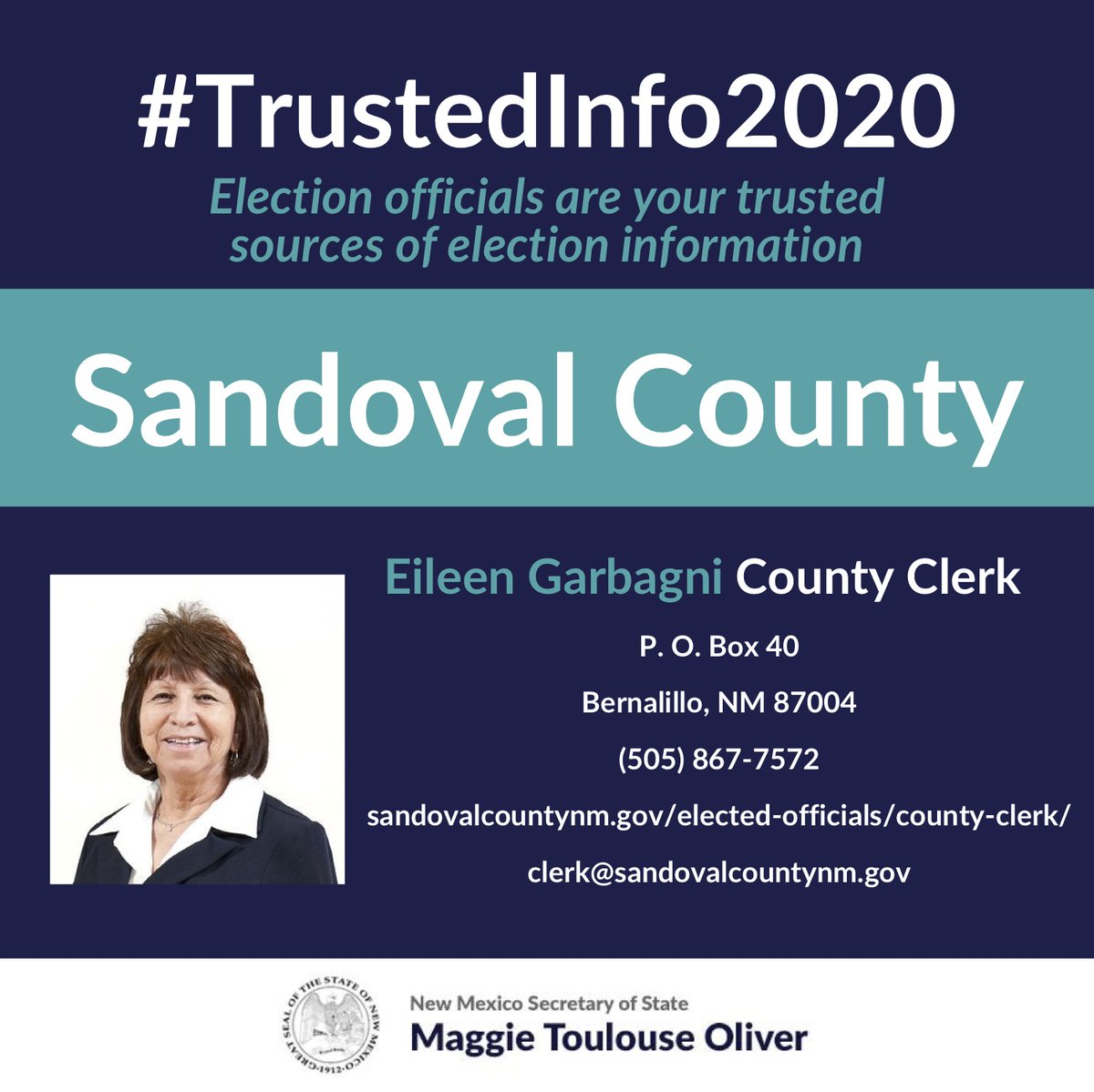 Today we're highlighting the Sandoval County Clerk's Office & Clerk Eileen Garbagni. Election officials are your sources for #TrustedInfo2020. Reach out to them w questions re: absentee voting, voter registration, polling locations & much more.    #nmpol