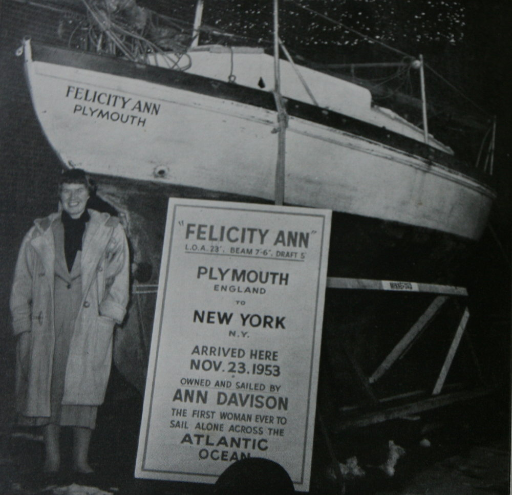 """Ann Davison was a skilled author and pilot, and was the first woman to single handedly sail across the Atlantic. She departed from Plymouth, England in spring of 1952 aboard her ship """"Felicity Ann"""", and ended her voyage in New York in the fall of 1953. #WCW #CCLwcw"""