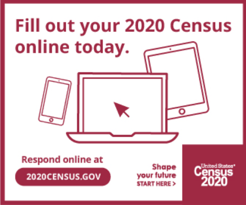Today, August 12th from 10:00 a.m. to 2:00 p.m. Census Takers will be located in the Government Center to assist you with responding to the Census 2020.