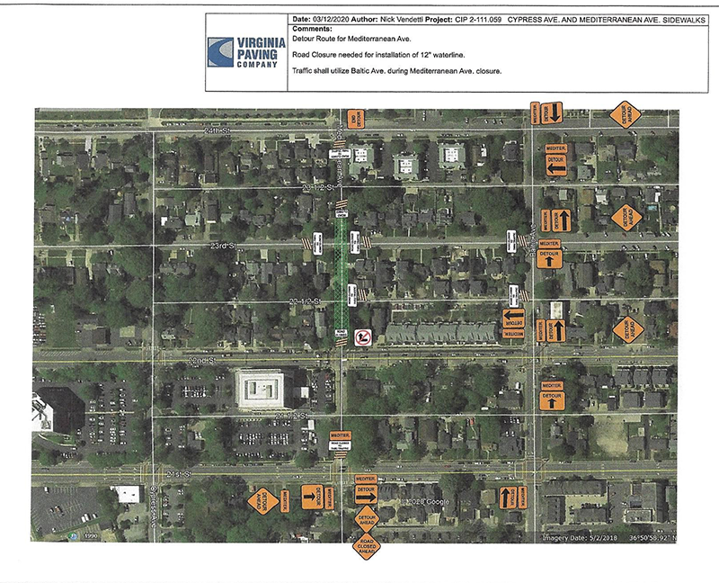 Public Works has announced work will resume on the Mediterranean & Cypress Ave. Sidewalk Project beginning Thursday, Aug. 13, 2020. This work will require closing Mediterranean Ave. BTW 22nd & 24th Streets for approximately 4 weeks.