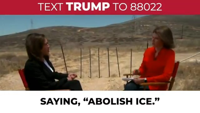"""Phony Kamala Harris supports open borders and more illegal immigration.  Asked whether she supports abolishing ICE, she said we should start """"from scratch."""""""