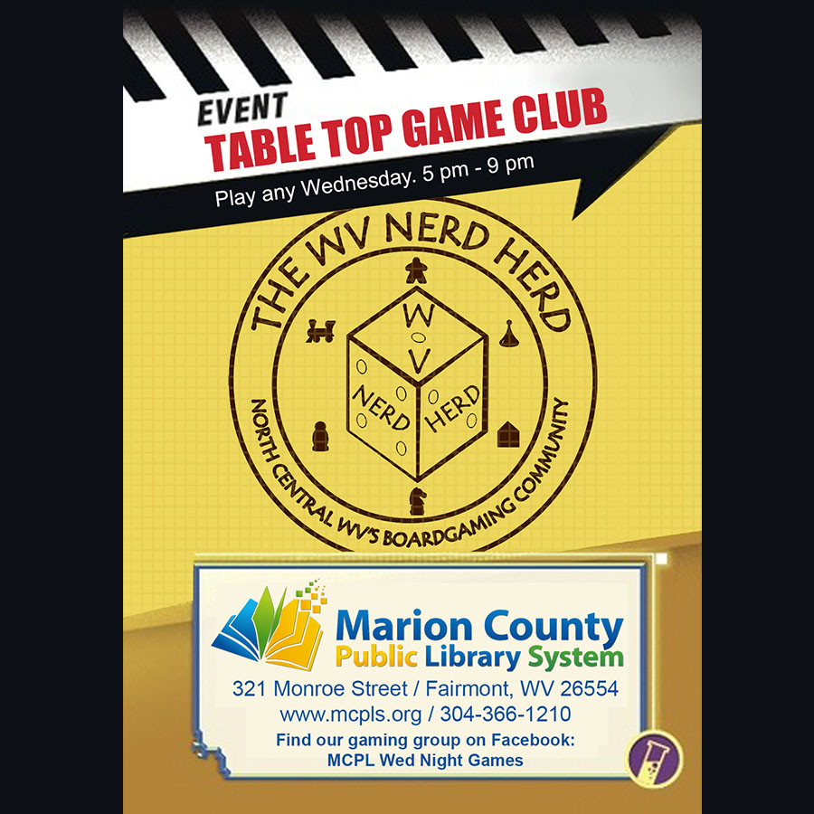Missing our Wednesday Night Tabletop Game Group? Not to fear, WNG is happening virtually!  Please contact Dan Ward at dward@mcpls.org for more information or join the WV Nerd Herd Group on Facebook for log in details:  