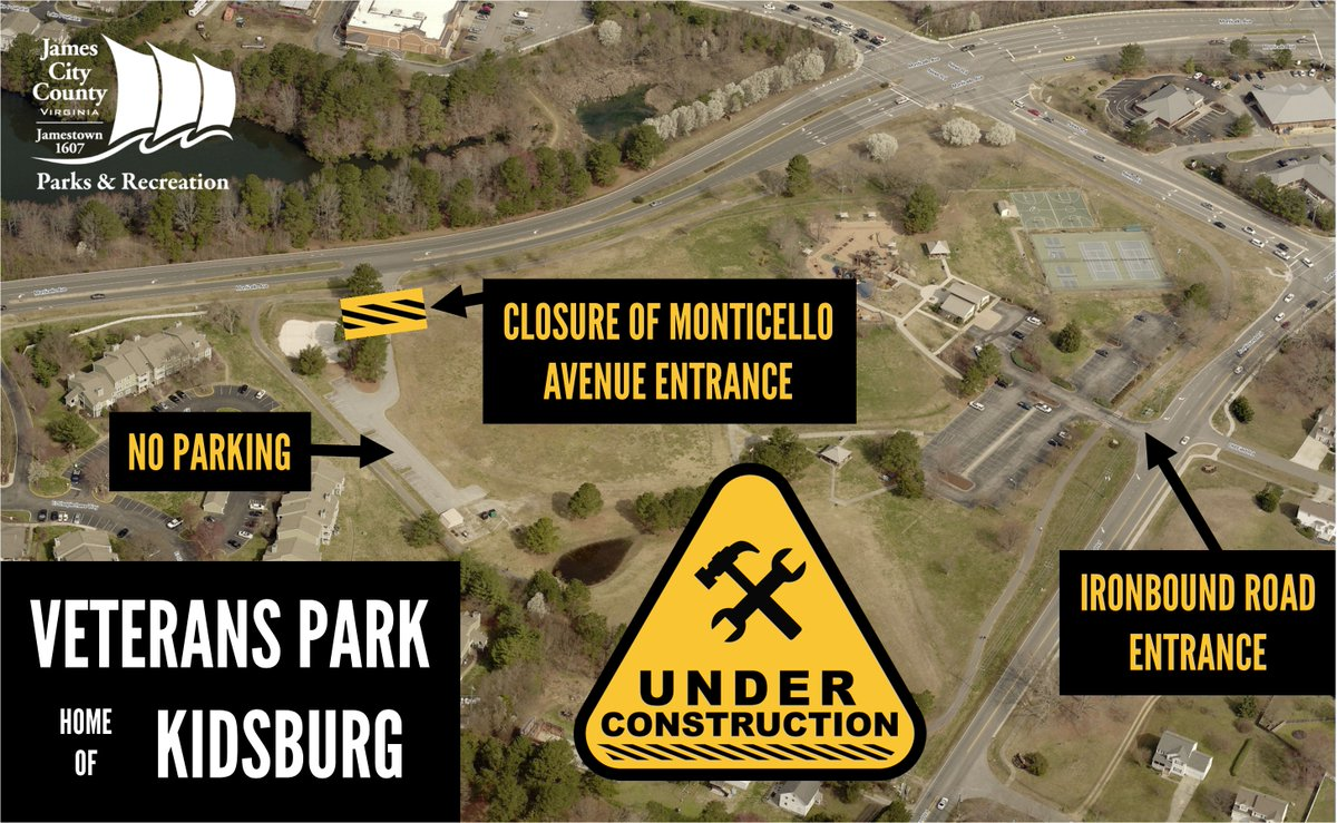 The Monticello Avenue entrance to Veterans Park will close Aug. 14-18 while contractors pave the parking lot, weather permitting. During this time visitors should use the Ironbound Road park entrance. Walking trail, Kidsburg, athletic courts remain open. 757-259-5360 #jccparksrec
