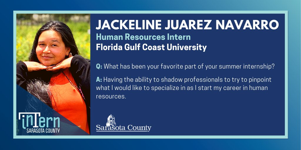 ➡ Jackeline Juarez Navarro | #SRQCounty Human Resources #Intern | Florida Gulf Coast University ⬅  Q: You can have an unlimited supply of one thing for the rest of your life, what is it?  A: Sunflower seeds and/or money -- either is fine with me. 🌻💰