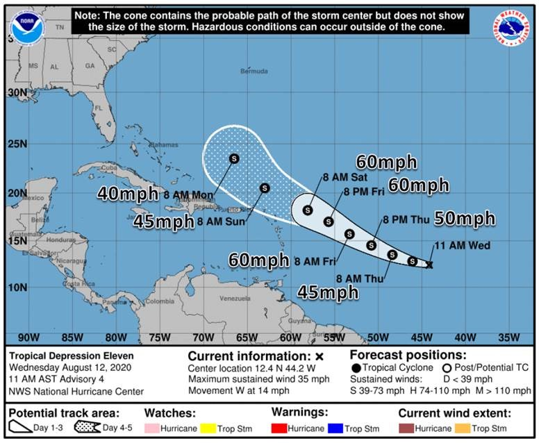 🌀See the Tropical Update graphics for Tropical Depression 11. At this point Tropical Depression 11 poses, no forecast threat to Florida but we'll closely monitor and update with the latest if things change. Visit  for hurricane preparedness & forecasts.
