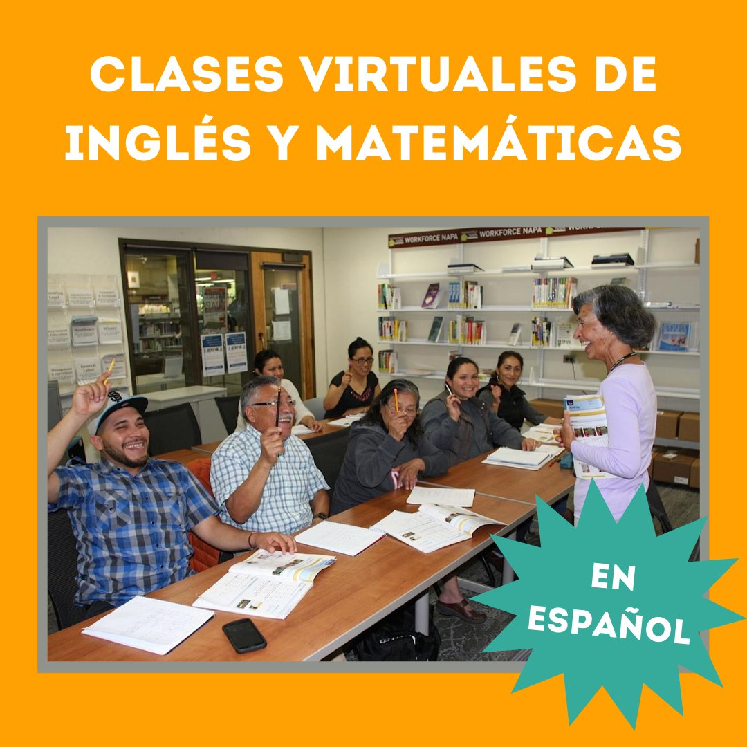Interesado en estudiar inglés or matemáticas para el GED? Llame al 707-253-4237 para inscribirse.   Interested in studying English or basic math for the GED? Call 707-253-4237 to register.  #napalibrary #starthere #GEDprep #clasesdeingles #clasesdematematicas #clasesenespañol