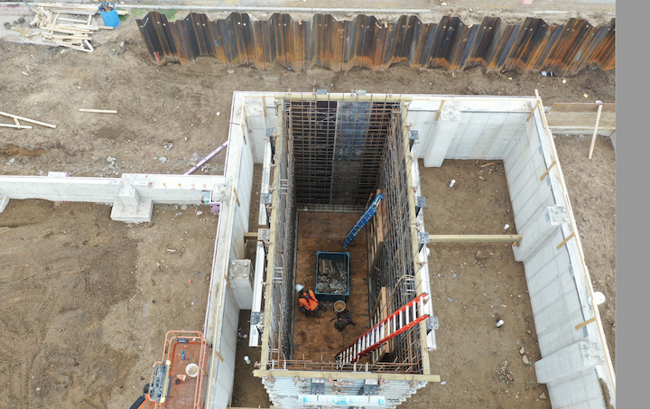 Aerial photos from the Main Library Block Project construction site show progress on the elevator shaft of the Community Learning Center. #seeyousoonsjcpl