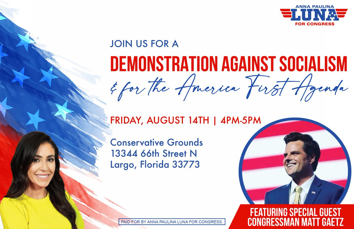 Join me with Conservative Rockstar @realannapaulina in Largo on Friday!    We need her in Congress. She's a fighter.