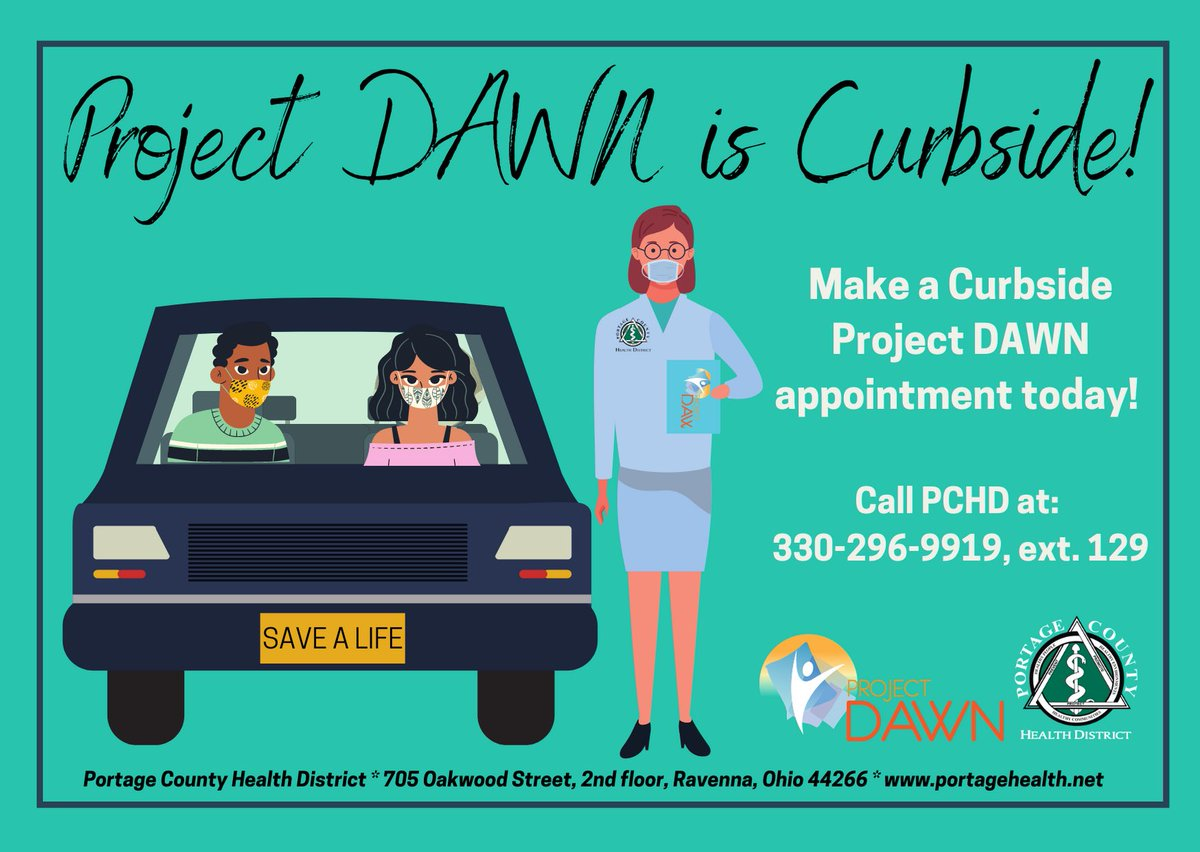 Are you or a loved one needing a Project DAWN kit!? Or are you just interested in getting trained and learning more about Narcan!? Then call today to make your CURBSIDE Peoject DAWN appointment! 330-296-9919, ext. 129! #ProjectDAWN #Narcan #CurbsideService @ProjectDAWNOhio
