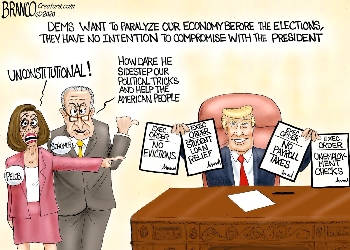 To win the elections, Dems are determined to keep us locked-down at home and punish the economy. They would help the American people only if their failed blue states and big cities get a $Trillion. @realDonaldTrump's Executive orders just pulled the rug out from under their feet