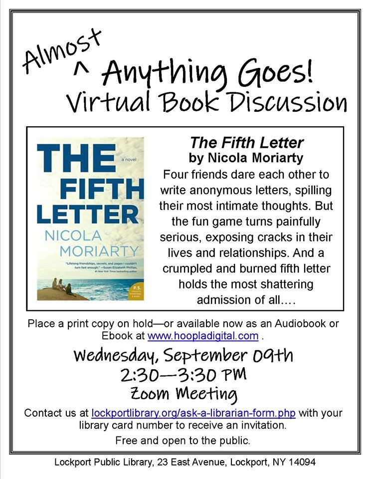 Join us for the September Almost Anything Goes Book Discussion!  Anyone in @LkptCityNY : stream The Fifth Letter, by Nicola Moriarty, from Hoopla as an ebook or audiobook--then contact us at  for the link to our Zoom discussion.
