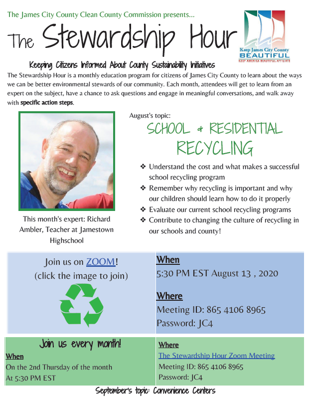 The Stewardship Hour is TOMORROW, Aug. 13 at 5:30 p.m.  on Zoom!   Topic: School and Residential Recycling     Meeting ID: 865 4106 8965 Password: JC4