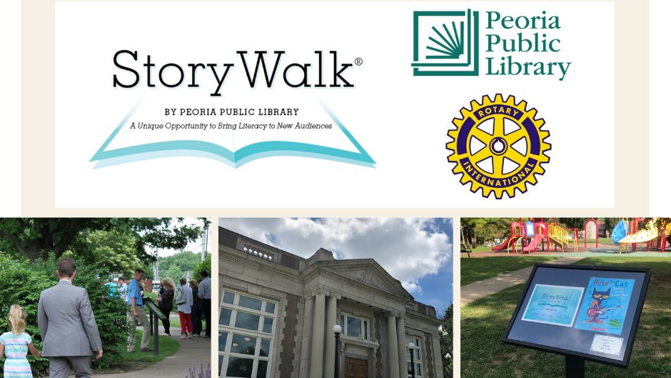 Join us 10:30 a.m. Friday at Lincoln Branch for the unveiling of our newest StoryWalk. Generously sponsored by the Rotary Club of Peoria, this permanent yet dynamic installation will be a beautiful addition to our Carnegie library. #librariestransform #RotaryRocks