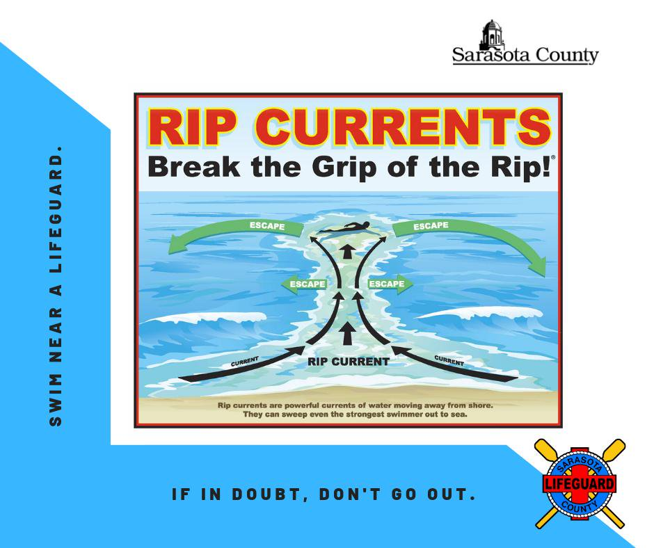 Rip currents are capable of pulling even the strongest swimmers away from shore. If in doubt, don't go out!  Check beach conditions online at  or in person at any Sarasota County lifeguard stand.  Whenever possible, swim near a lifeguard.  #SRQCountyES