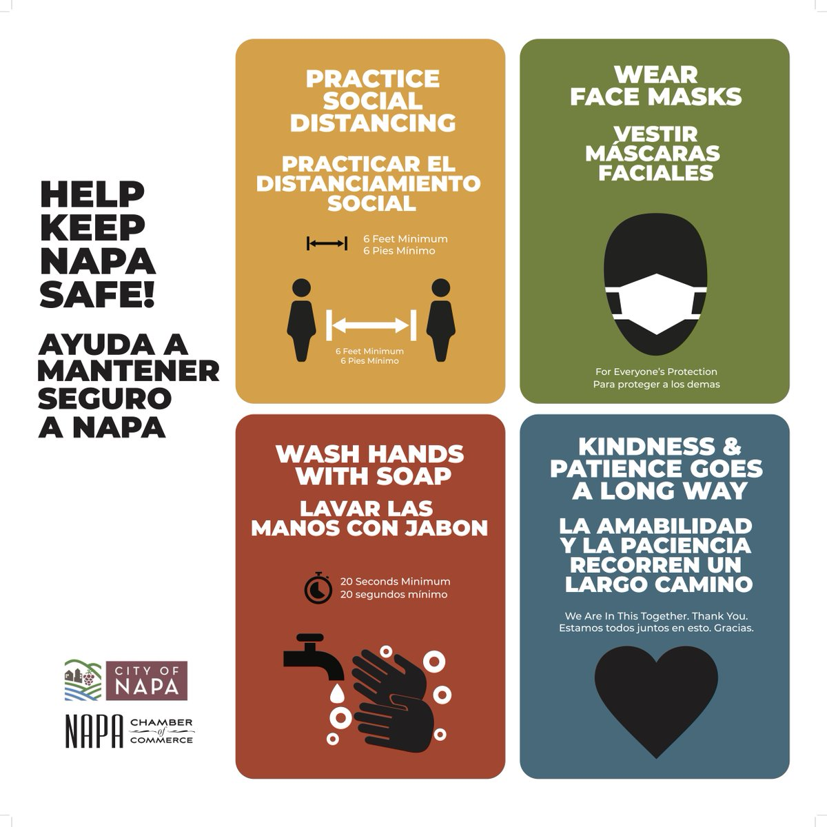 The City of Napa is partnering with the Chamber of Commerce to launch a #COVID19 safety campaign to promote health protocols in more than 25 locations around the City. Keep your eye out for the signs and help keep Napa safe!   Visit City of  for more info.