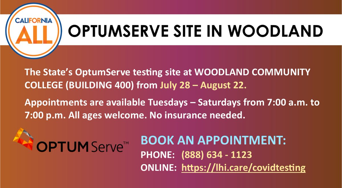 Get FREE COVID-19 testing in Woodland from 7/28 - 8/22! It's open Tuesdays - Saturdays from 7 am - 7 pm for all CA residents but you must make an appointment (phone: (888) 634-1123 or online: ). At Woodland Community College BDG 400. Open to all ages.