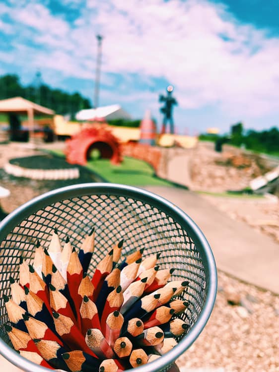 These pencils aren't for back to school. ✏️ They are for keeping score! ⛳️  📍 Coal Country Miniature Golf  #familyfun #minigolf #mymarionwv