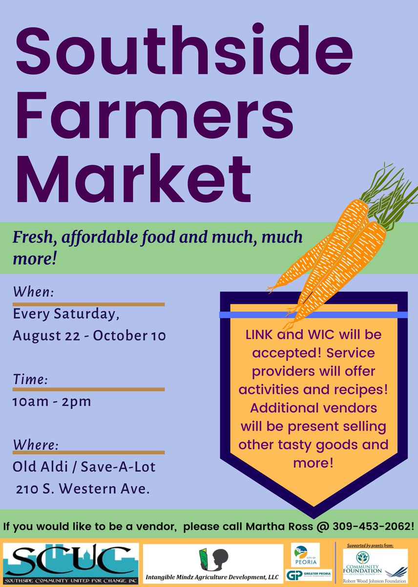 RT @CityofPeoria_IL: Don't miss the Southside Farmers Market--THIS SATURDAY from 10a-2p at 210  S. Western Avenue!